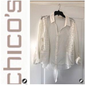 Chico's Lace Front Tie Blouse EUC